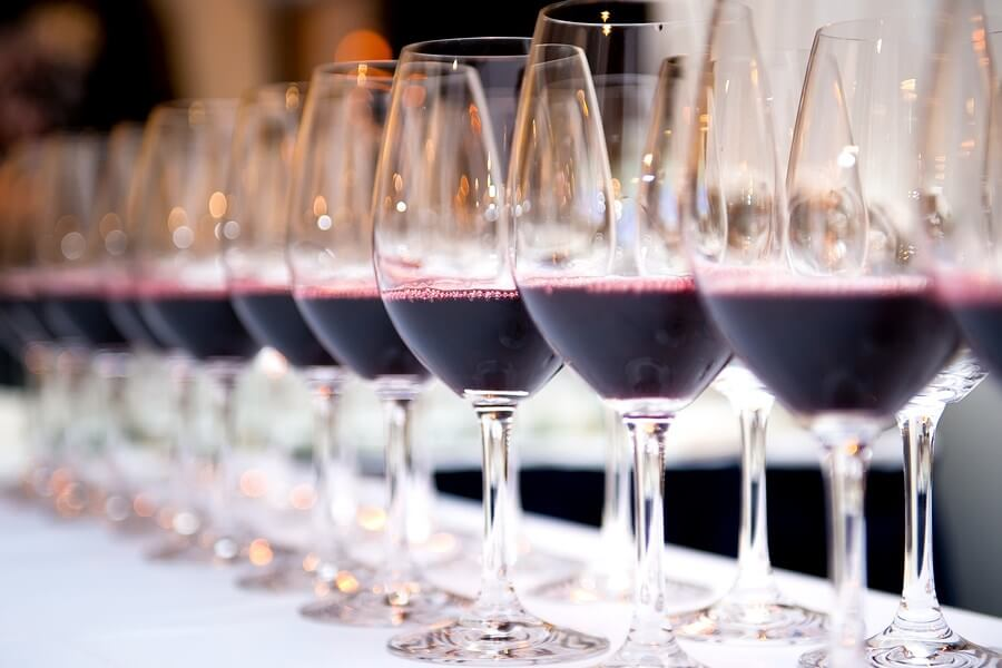 A display of amazing wine glasses with red wine for beautiful Wine tasting experiences!