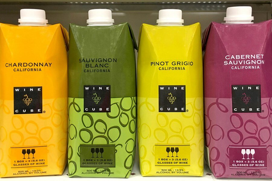 A row of amazing boxed wines, from the same boxed wine brands