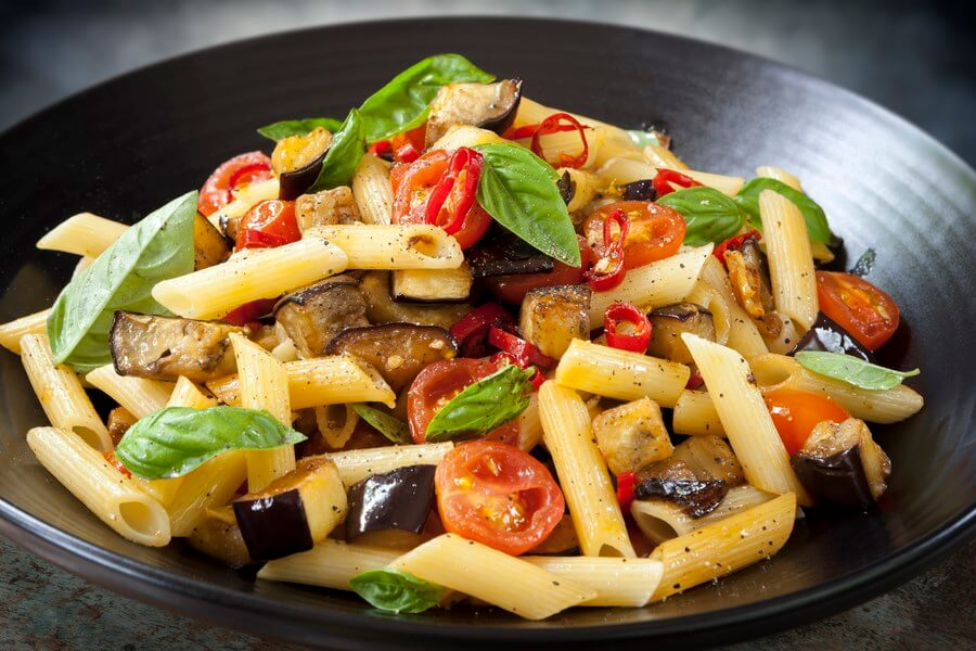Tuscan Style Pasta with Navy beans, Eggplant, tomatoes, and basil