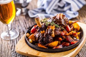 Burgundy lamb shanks, the finished product of this amazing lamb shanks recipe!