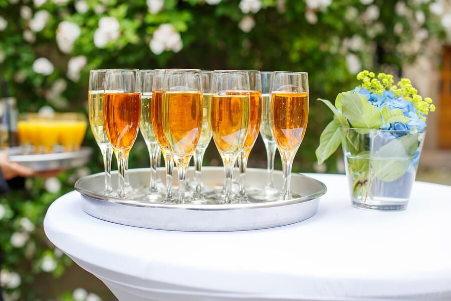 A display of Champagne types on a tray on an amazing afternoon in the sun!
