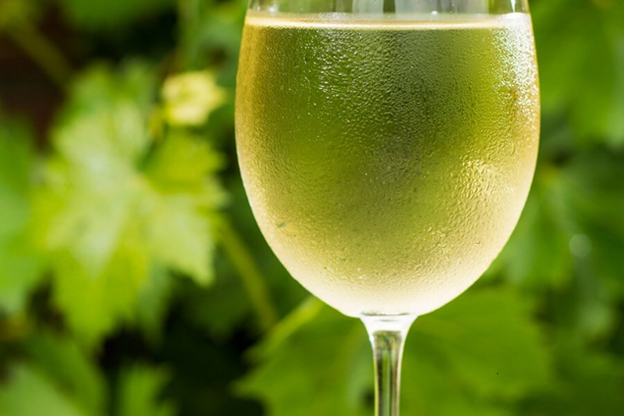 A beautiful, cold glass of white wine, epitomizing the wine temperature guide.
